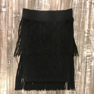 NWT 2B Bebe Black Fringe Skirt - XS